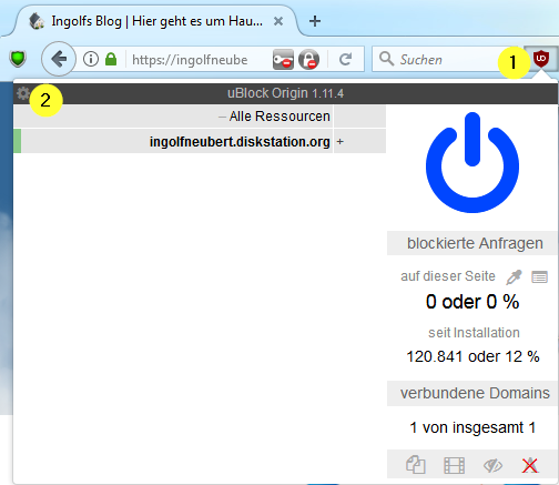 Bild Konfiguration uBlock Origin